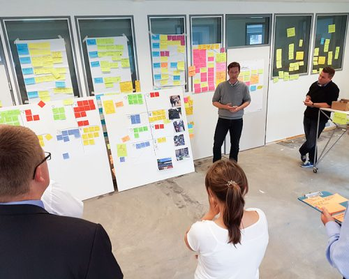 Kunden bei einem Design Thinking Workshop hören dem Kursleiter zu