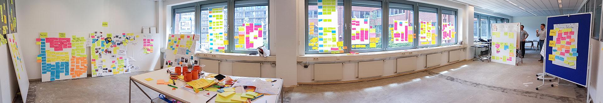 Panorama des Raums nach einem Design Thinking Workshop mit vielen Post Its